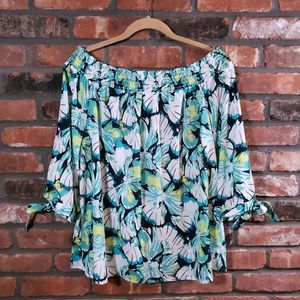 NWT NY&Co Off-Shoulder Floral Top 3/4 Tie Sleeve